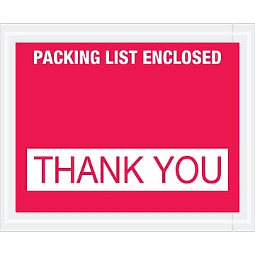 """Tape Logic """"Packing List Enclosed - Thank You"""" Envelopes, 4 1/2"""" x 5 1/2"""", Red, 1000/Case (PL480)"""