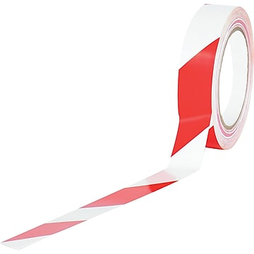 "Tape Logic™ 1"" x 36 yds. Striped Vinyl Safety Tape, Red/White, 3/Pack"