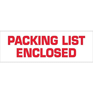 "Tape Logic™ 2"" x 110 yds. Pre Printed ""Packing List Enclosed"" Carton Sealing Tape, 6/Pack"