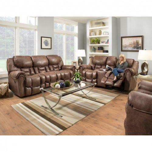 HomeStretch Del Mar 3 Piece Power Reclining Living Room Set in Mocha