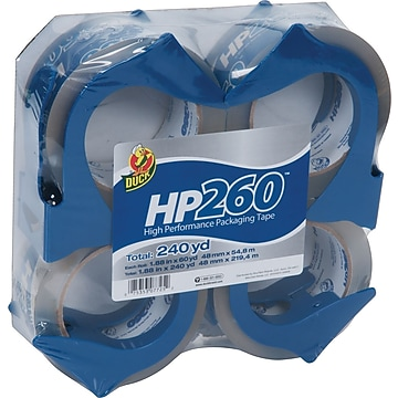 """Duck HP260 Packing Tape with Reusable Dispenser, High Performance, 1.88""""Wx60 Yards, 4 Pack (0007725)"""