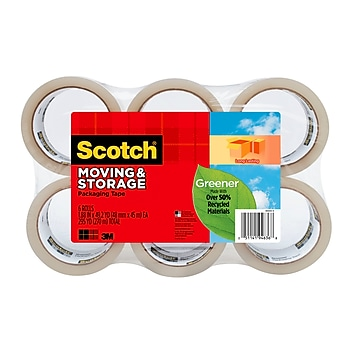 """Scotch Greener Long Lasting Moving & Storage Packing Tape, 1.88"""" x 49.2 yds., Clear, 6 Rolls (3650G-6)"""