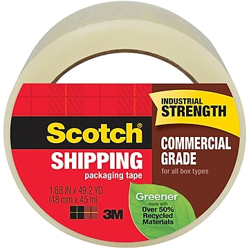 """Scotch Greener Shipping Packing Tape, 1.88""""W x 49.2 Yards, Clear (3750G)"""