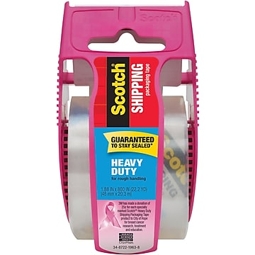 """""""Scotch Heavy Duty Shipping Packing Tape with Pink Dispenser, 1.88"""""""" x 22.2 yds., Clear (142-PC)"""""""