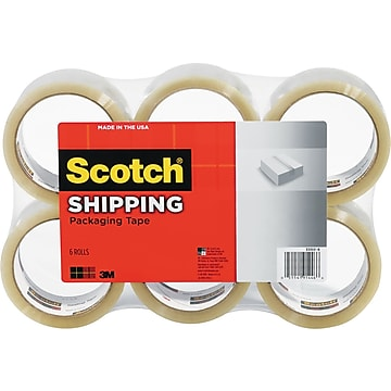 """Scotch Shipping Packing Tape, 1.88"""" x 109 yds., Clear, 6 Rolls/Pack (3350L-6)"""