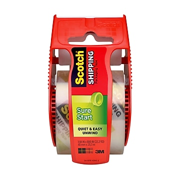 """""""Scotch Sure Start Shipping Packing Tape with Dispenser, 1.88"""""""" x 22.2 yds., Clear (145)"""""""