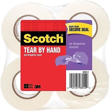 """""""Scotch Tear-By-Hand Mailing Packing Tape, 1.88"""""""" x 50 yds., Clear, 4 Rolls (3842-4)"""""""