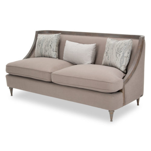 AICO Studio Dallas Wood Trim Sofa in Greystone by Michael Amini
