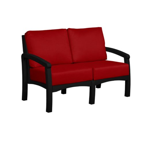 CRP Products Bay Breeze Black Frame Loveseat with Canvas Jockey Red Cushion