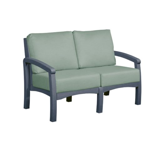 CRP Products Bay Breeze Slate Grey Frame Loveseat with Canvas Spa Cushion