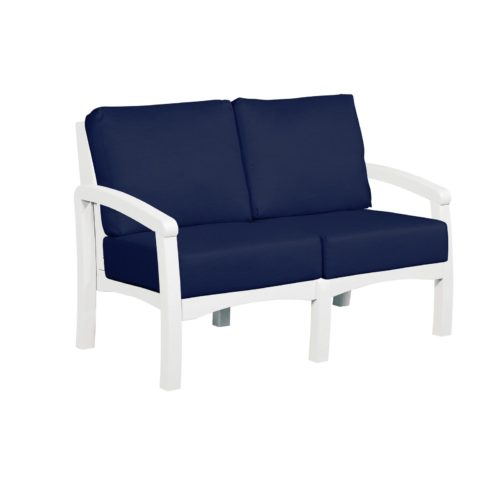 CRP Products Bay Breeze White Frame Loveseat with Spectrum Indigo Cushion