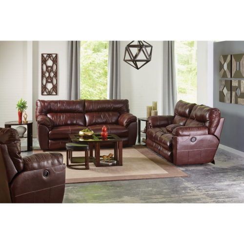 Catnapper Milan Leather Lay Flat Reclining Console Loveseat in Walnut