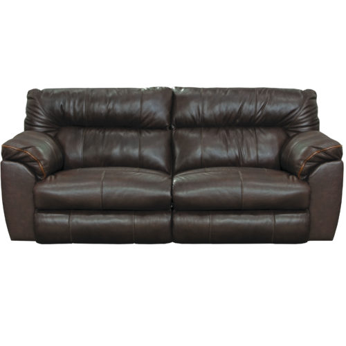 Catnapper Milan Leather Lay Flat Reclining Sofa in Chocolate