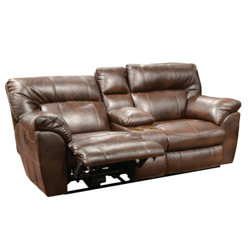 Catnapper Nolan Extra Wide Leather Reclining Console Loveseat in Godiva with Power Option