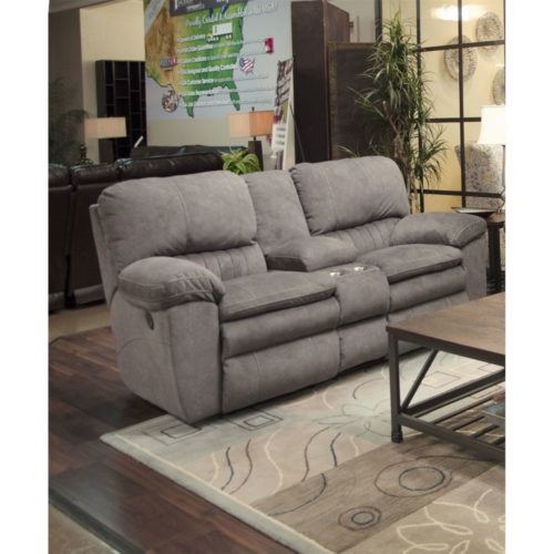 Catnapper Reyes Lay Flat Reclining Console Loveseat with Storage and Cup holders in Graphite