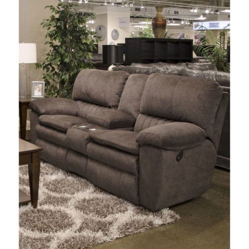 Catnapper Reyes Power Lay Flat Reclining Console Loveseat with Storage and Cup holders in Chocolate