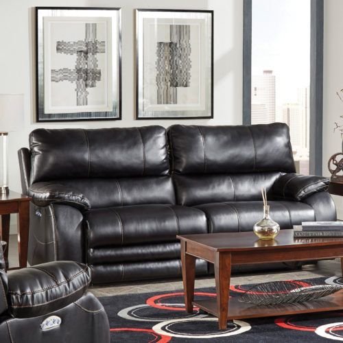 Catnapper Sheridan Power Lay Flat Reclining Sofa with Power Headrest in Black