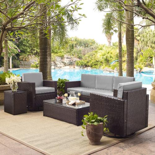 Crosley Palm Harbor 5 Piece Outdoor Wicker Sofa Conversation Set with Grey Cushion