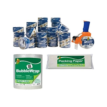 Duck 39 Piece Mailroom Bundle - HP620 Packing Tape 36/Pack + BladeSafe Tape Gun + 60' Bubble Wrap + Packing Paper