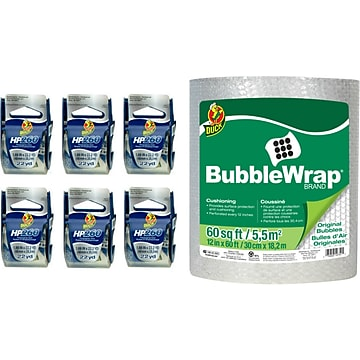 Duck 7 Piece Mailroom Bundle - HP260 Packing Tape Dispenser Rolls 6/Pack + 60' Bubble Wrap (DUCKPACKF-STP)