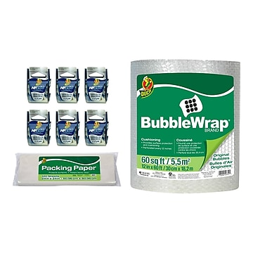 Duck 8 Piece Mailroom Bundle - HP260 Packing Tape Dispenser Rolls 6/Pack + 60' Bubble Wrap + Packing Paper (DUCKSMB-STP)