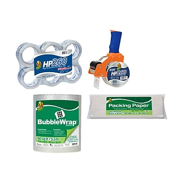 Duck 9 Piece Mailroom Bundle - HP260 Packing Tape 6/Pack + BladeSafe Tape Gun + 60' Bubble Wrap + Packing Paper