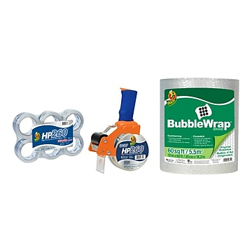 Duck HP260 Packing Tape Bundle, 6 Rolls + 60' Bubble Wrap (DUCKPACKD-STP)