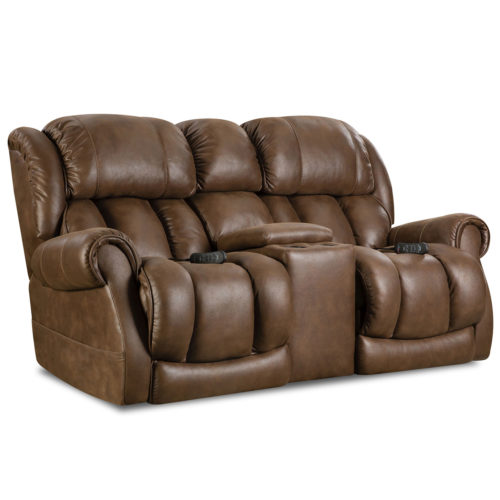 HomeStretch Atlantis Power Loveseat with Power Headrest and Power Lumbar Foot Extension in Cognac