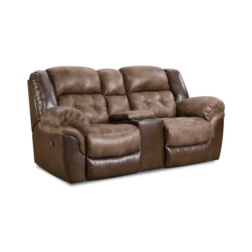 HomeStretch Fenway Power Console Loveseat in Taupe and Espresso