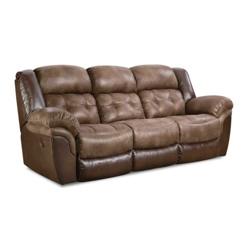 HomeStretch Fenway Reclining Sofa in Taupe and Espresso