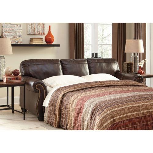 Signature Design by Ashley Bristan Leather Queen Sofa Sleeper in Walnut