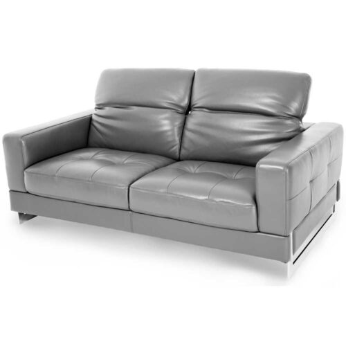AICO Furniture Mia Bella Novelo Leather Loveseat Sofa in Dark Grey By Michael Amini, 67.75 in. W x 40 in. D x 23.5 in. H