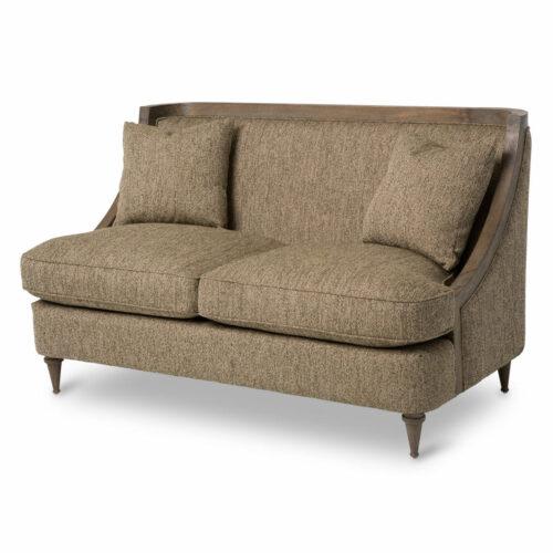 AICO Furniture Studio Dallas Wood Trim Loveseat Sofa in Haze By Michael Amini, 57 in. W x 34 in. D x 34 in. H