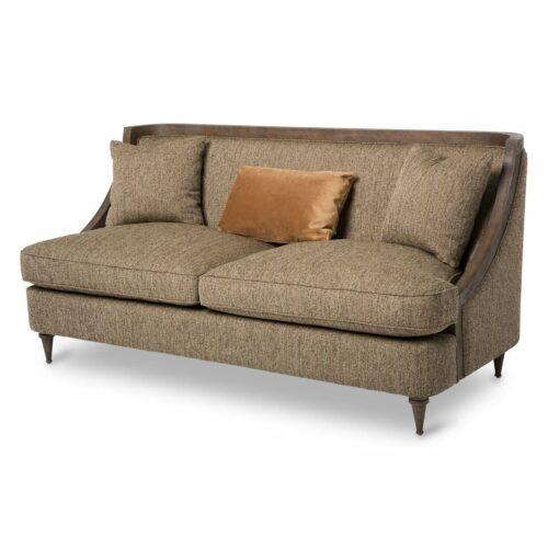 AICO Furniture Studio Dallas Wood Trim Sofa in Haze By Michael Amini, 73 in. W x 34 in. D x 34 in. H