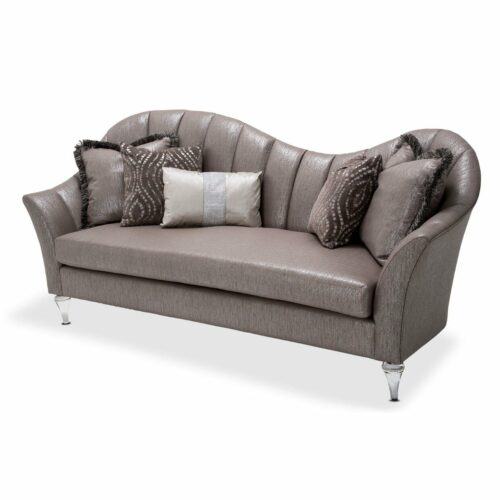 AICO Furniture Studio Maritza Channel Back Sofa Clear With Crystals By Michael Amini, 91 in. W x 36.5 in. D x 43 in. H