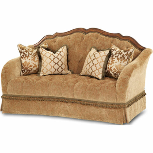 AICO Furniture Villa Valencia Tufted Loveseat Sofa By Michael Amini, 74 in. W x 38 in. D x 44 in. H
