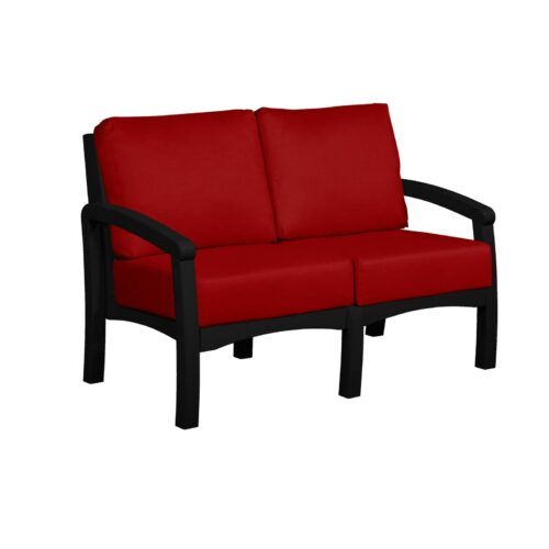 CRP Products Bay Breeze Black Frame Loveseat With Canvas Jockey Red Cushion, 54 in. W x 32 in. D x 33 in. H | 100% Plastic