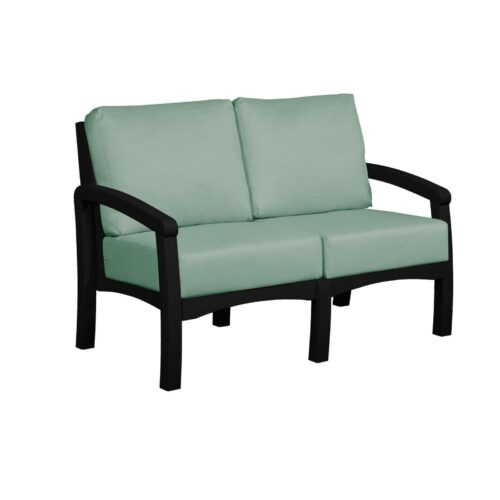 CRP Products Bay Breeze Black Frame Loveseat With Canvas Spa Cushion, 54 in. W x 32 in. D x 33 in. H | 100% Plastic