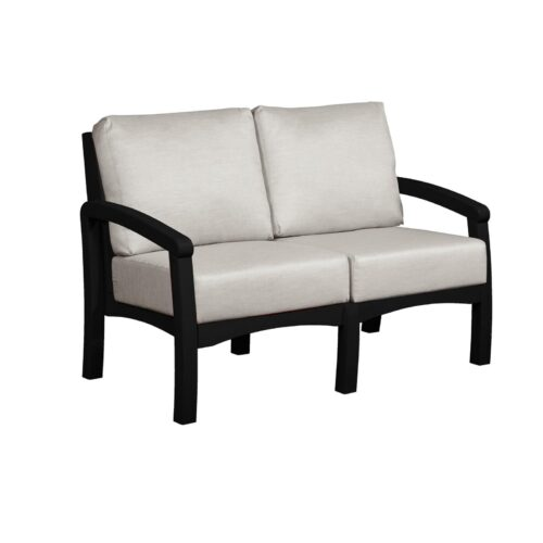 CRP Products Bay Breeze Black Frame Loveseat With Spotlight Ash Cushion, 54 in. W x 32 in. D x 33 in. H | 100% Plastic