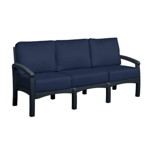 CRP Products Bay Breeze Black Frame Sofa With Spectrum Indigo Cushion, 78 in. W x 32 in. D x 33 in. H | 100% Plastic