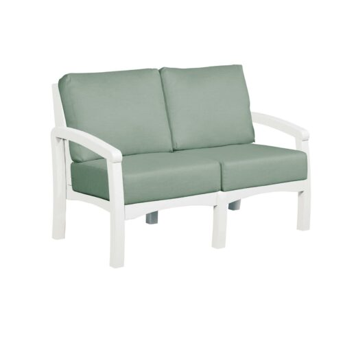 CRP Products Bay Breeze White Frame Loveseat With Canvas Spa Cushion, 54 in. W x 32 in. D x 33 in. H | 100% Plastic