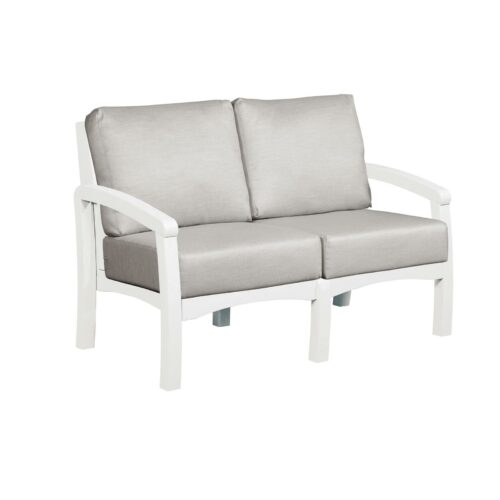 CRP Products Bay Breeze White Frame Loveseat With Spotlight Ash Cushion, 54 in. W x 32 in. D x 33 in. H | 100% Plastic