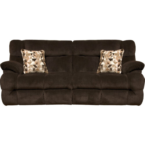 Catnapper Brice Lay Flat Power Reclining Sofa With Power Headrest in Chocolate, 93 in. W x 44 in. D x 43 in. H | 100% Steel