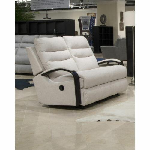 Catnapper Jansen Reclining Gliding Loveseat Sofa in Shell, 54 in. W x 41 in. D x 41 in. H | 100% Steel