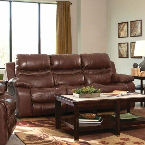 Catnapper Patton Leather Power Lay Flat Reclining Sofa in Walnut, 90 in. W x 41 in. D x 42 in. H | Italian Leather