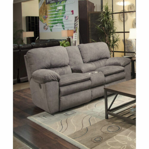 Catnapper Reyes Lay Flat Reclining Console Loveseat Sofa With Storage And Cup Holders in Graphite, 82 in. W x 40 in. D x 41 in. H | 100% Steel