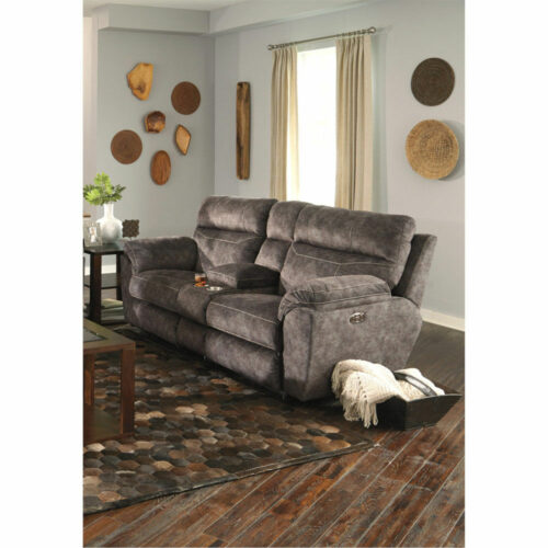 Catnapper Sedona Power Headrest Power Lay Flat Reclining Console Loveseat Sofa With Storage And Cupholders, 86 in. W x 43 in. D x 43 in. H