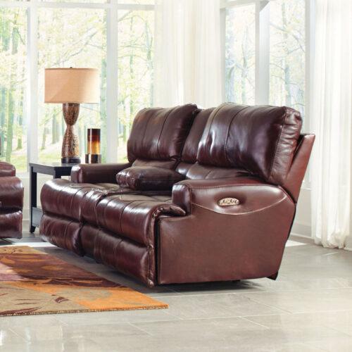 Catnapper Wembley Leather Lay Flat Reclining Console Loveseat Sofa in Walnut, 89 in. W x 43 in. D x 41 in. H   Italian Leather