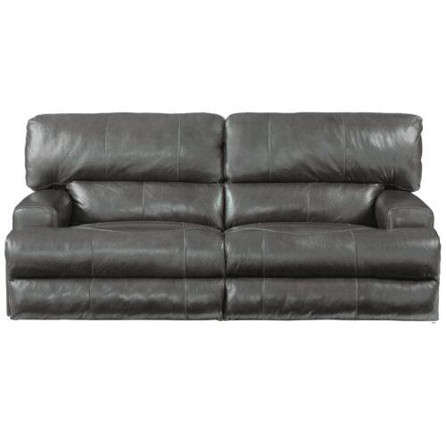 Catnapper Wembley Leather Lay Flat Reclining Sofa in Steel, 93 in. W x 43 in. D x 41 in. H   Italian Leather