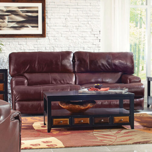 Catnapper Wembley Leather Power Lay Flat Reclining Sofa With Power Headrest in Walnut, 93 in. W x 43 in. D x 41 in. H | Italian Leather